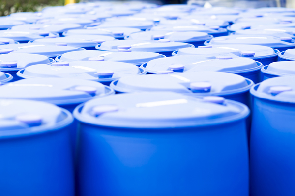 Chemical Plant, Plastic Storage Drums, Blue Barrels
